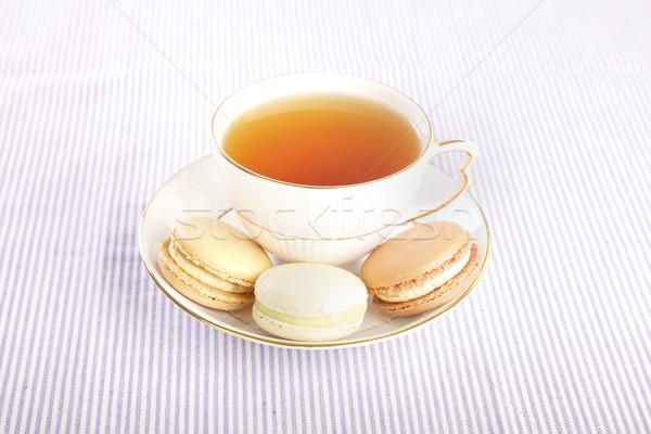 ストックフォト: カップ · 茶 · ベッド · 朝食 · 表示 · 食品