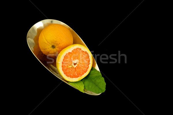 オレンジ ボウル 黒 葉 オレンジ 果物 ストックフォト © Vividrange
