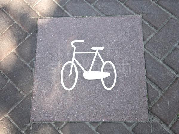 Fahrrad Zeichen Niederlande Amsterdam Straße Europa Stock foto © Vividrange