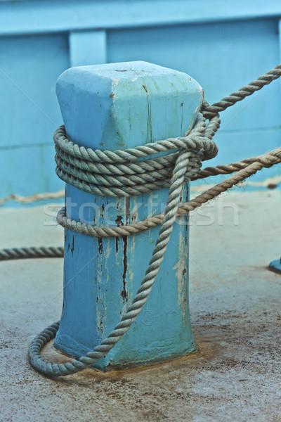 ストックフォト: 木製 · 漁船 · 青 · 土地 · 水 · 木材