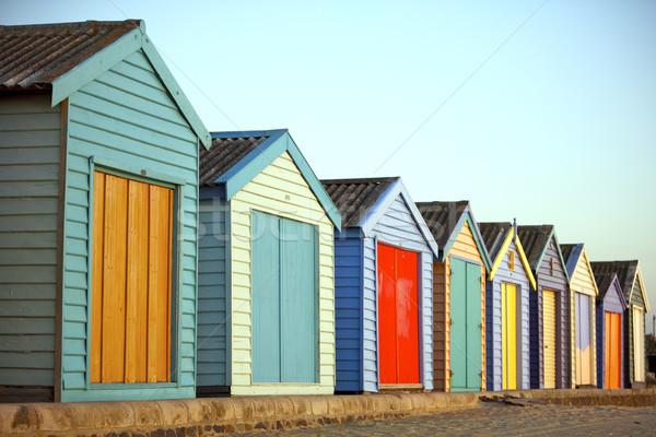 Strand gemalt Häuser Zeile Haus Gebäude Stock foto © Vividrange