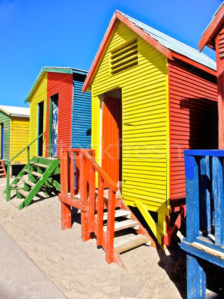 Cape Town kleurrijk houten strand beroemd toeristische Stockfoto © Vividrange