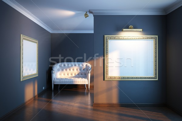 new interior gallery with white leather sofa Stock photo © vizarch