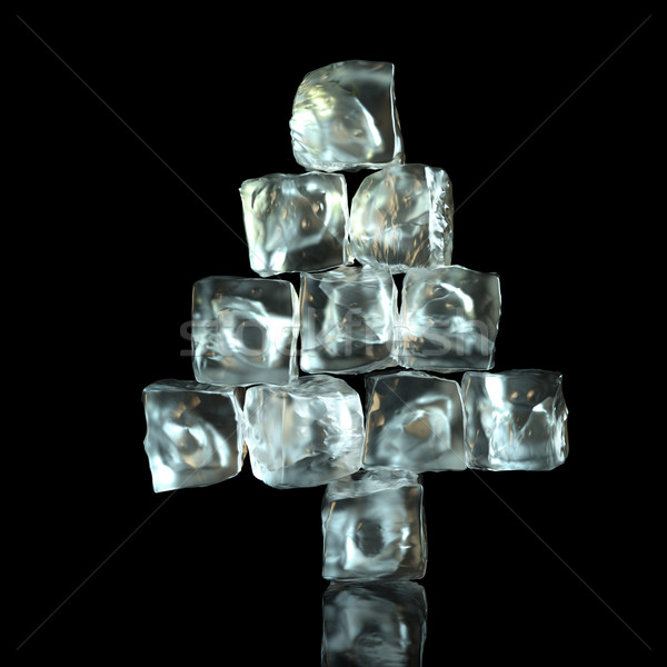 New Year Tree Shape Of Ice Cubes On Black Background Stock photo © vizarch