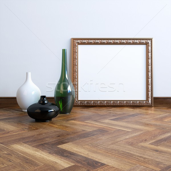 Carved Frame With Vases In Classic Interior Stock photo © vizarch