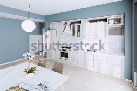 Klasszikus konyha új fehér belső ház Stock fotó © vizarch