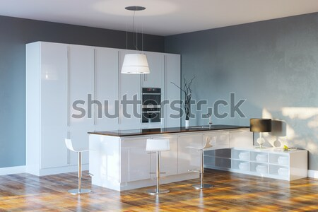 Luxury Hi-Tech Kitchen With Grey Walls And Bar Stock photo © vizarch