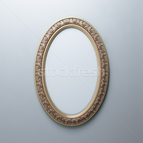 Klasik altın çerçeve beyaz duvar oval Stok fotoğraf © vizarch