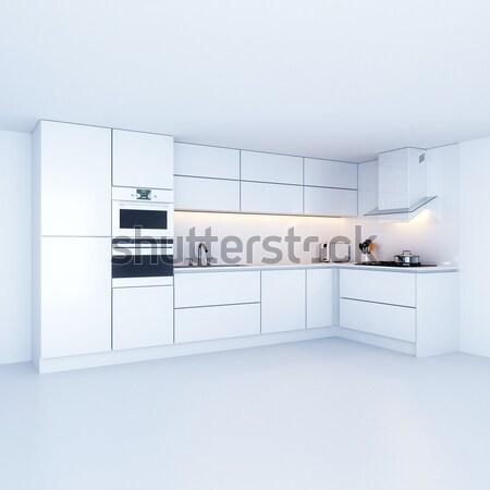 Modernes cuisine nouvelle blanche intérieur version Photo stock © vizarch