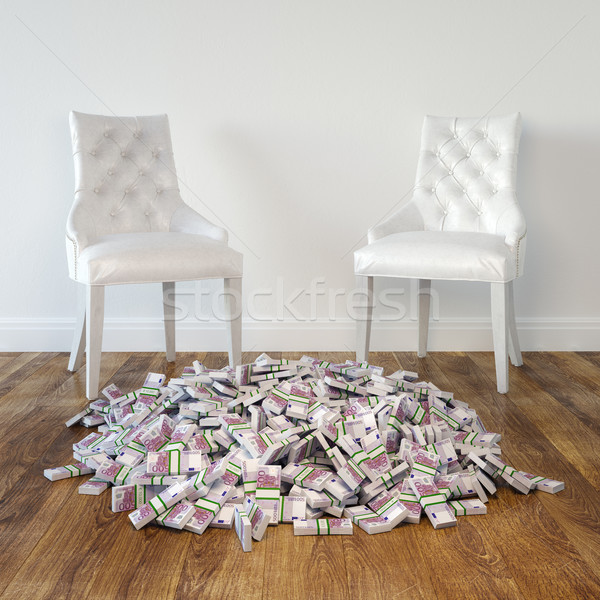 Interior Room With White Leather Chairs And Money Stock photo © vizarch