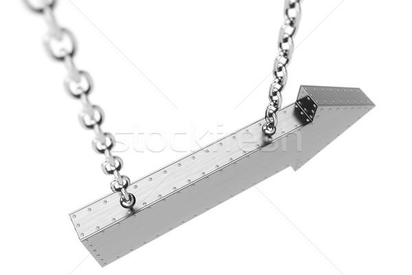 Fém nyíl lánc izolált fehér textúra Stock fotó © vizarch