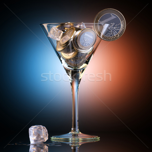 Metaphoric Business Cocktail Created Out Of Euro Coins Stock photo © vizarch