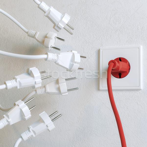 Beyaz gerek kırmızı kazanan versiyon duvar Stok fotoğraf © vizarch