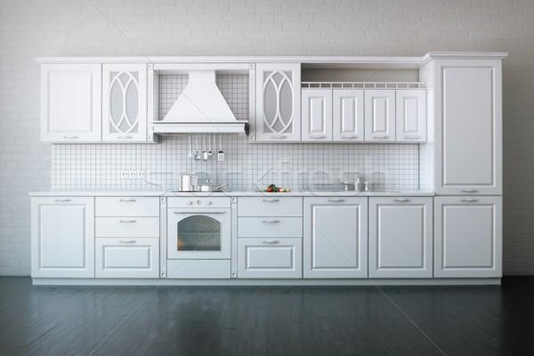 Classic Luxury White Kitchen With Hard Wood Stock photo © vizarch