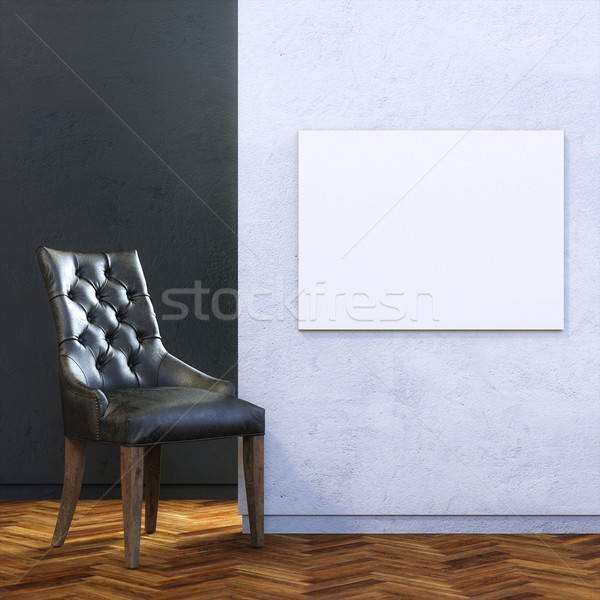 Gallery Interior with Leather Chair and Empty Frame on Wall Stock photo © vizarch