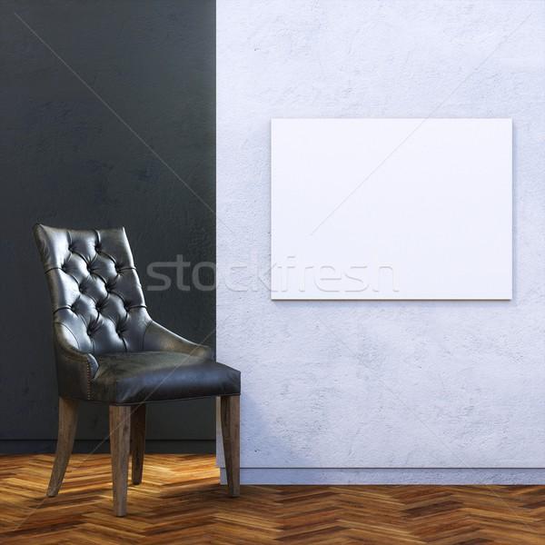 Galeri iç deri sandalye boş çerçeve Stok fotoğraf © vizarch