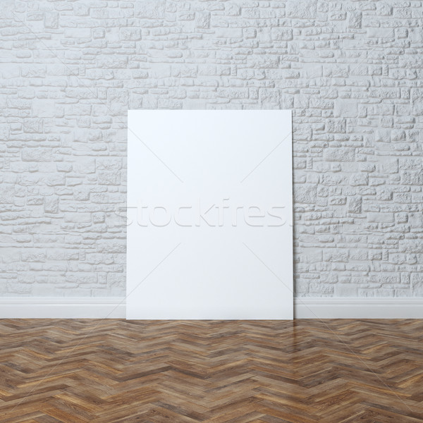 Stok fotoğraf: Beyaz · tuğla · duvar · iç · mimari · çerçeve · iş · kâğıt