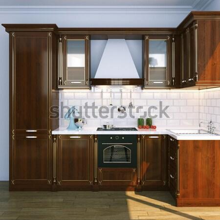 Luxus fából készült konyhaszekrény terv szoba bútor Stock fotó © vizarch