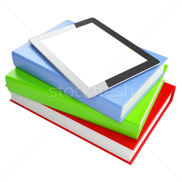 the progress of media. touchpad on the books isolated on white background (version with color books) Stock photo © vizarch