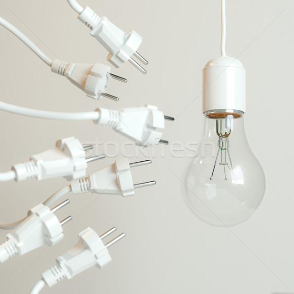 Sok villanykörte kép fal absztrakt természet Stock fotó © vizarch