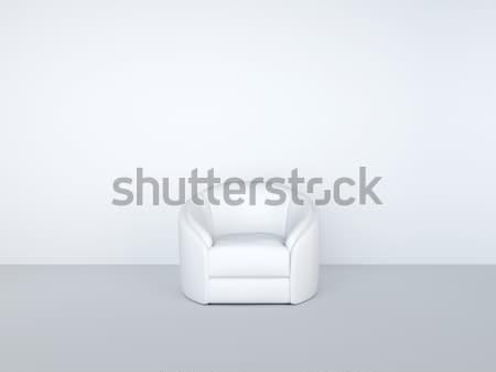 Fotel fehér belső papír fal absztrakt Stock fotó © vizarch