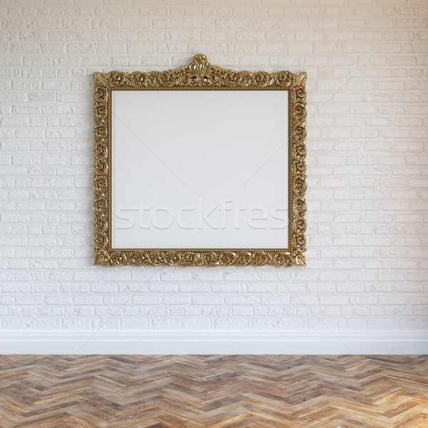 White Walls Brick Interior With Golden Carved Frame And Hardwood Stock photo © vizarch