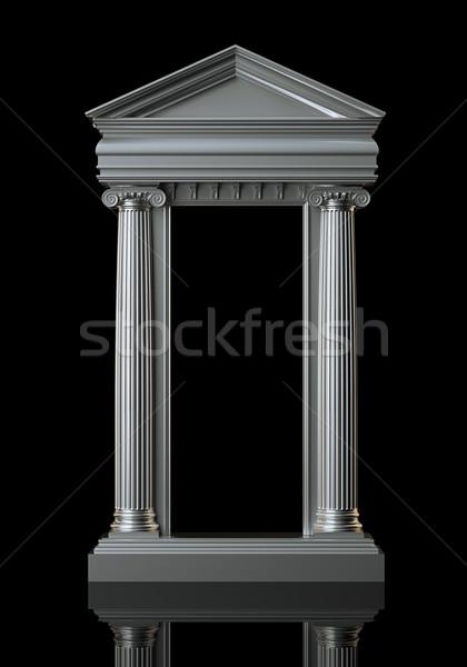 Architecture White Marble Columns On Black Background Stock photo © vizarch
