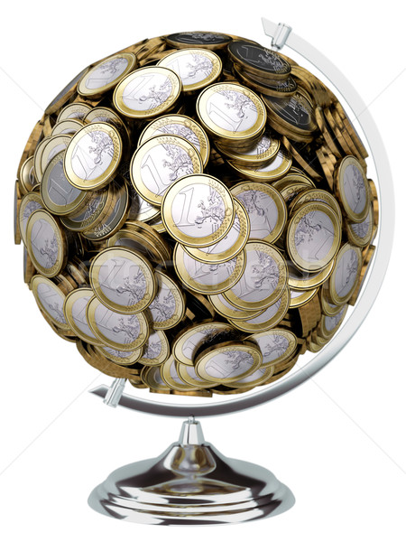 gift for businessman Globe of coins isolated on white Stock photo © vizarch