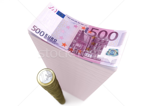 stack of banknotes and coins of euro on isolated white Stock photo © vizarch