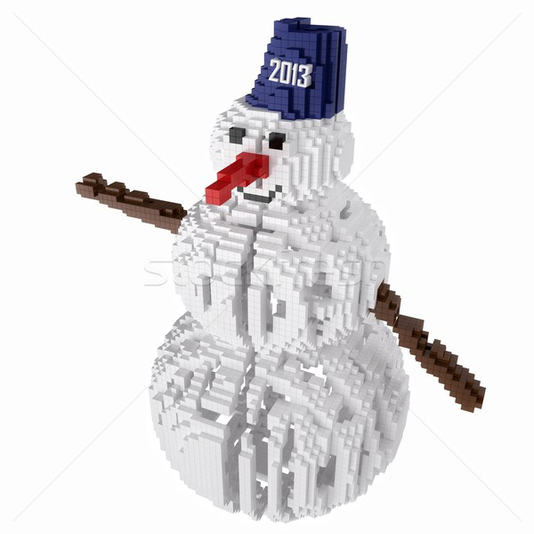 pixelized snowman - a symbol of the Christmas holidays isolated on white background  Stock photo © vizarch