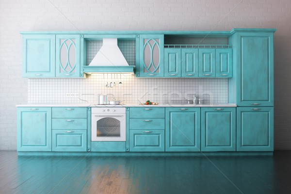 Classic Wooden Kitchen Painted In Turquoise  Stock photo © vizarch