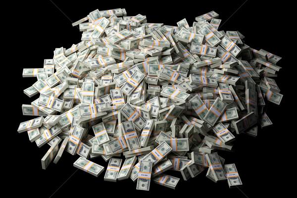 huge pile of American money on black background Stock photo © vizarch