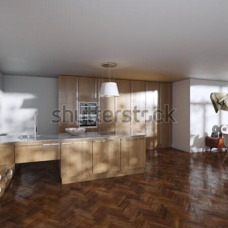 豪華な キッチンキャビネット 邸宅 建物 木材 ガラス ストックフォト © vizarch