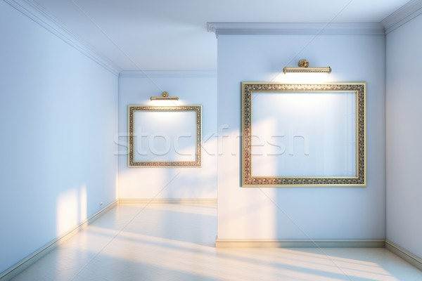 gallery with wooden parquet and empty frames Stock photo © vizarch