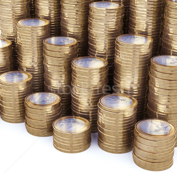 New Euro Coins Stack Background Stock photo © vizarch