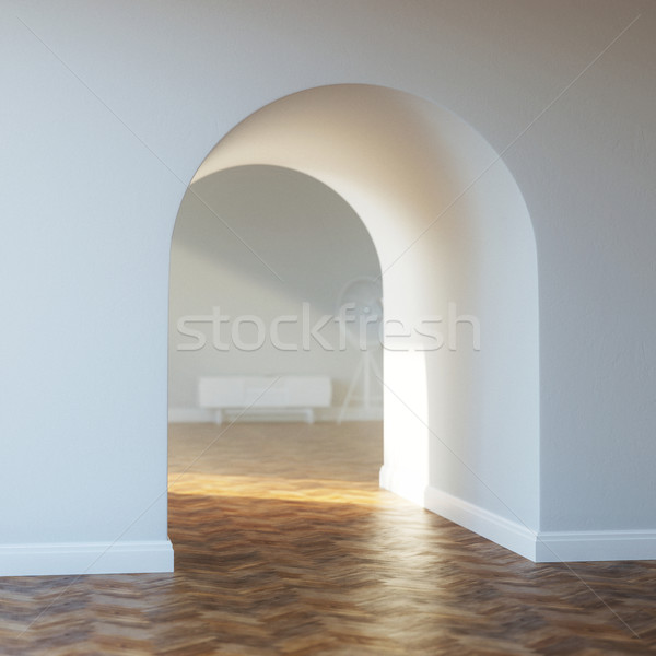 Beautiful home entrance with wood floor. interior with arch. Stock photo © vizarch
