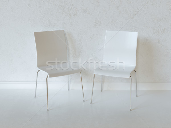 White Interior Room With Two Plywood Chairs Stock photo © vizarch