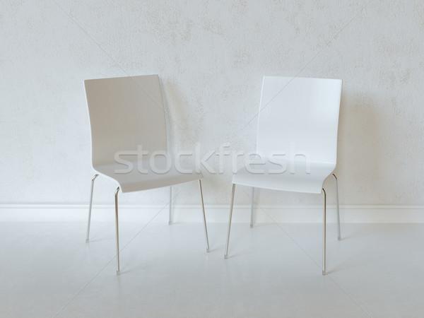 Biały wnętrza pokój dwa sklejka krzesła Zdjęcia stock © vizarch