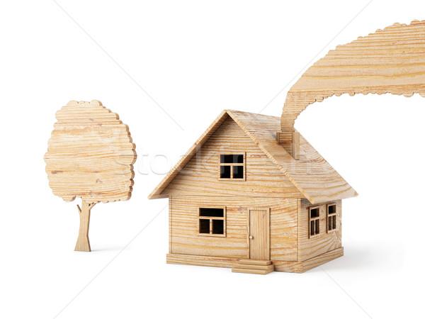Furnérlemez játék ház izolált fehér épület Stock fotó © vizarch