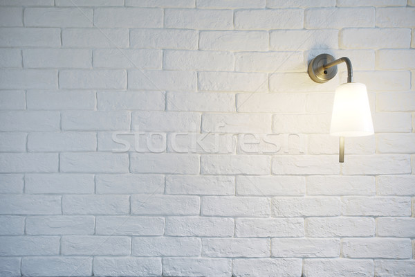 White Misty Brick Wall Background Or Texture With Turn On Bra Stock photo © vizarch