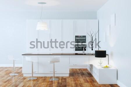 White Luxury Hi-Tech Kitchen With Bar Stock photo © vizarch