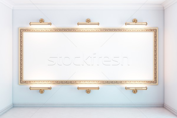 gallery interior with golden frame and lighters (white version) Stock photo © vizarch