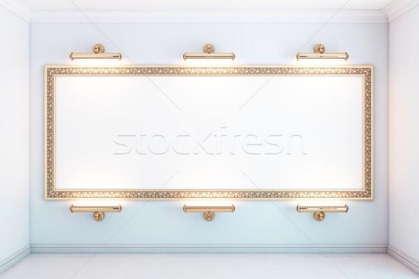 Galerie intérieur or cadre blanche version Photo stock © vizarch