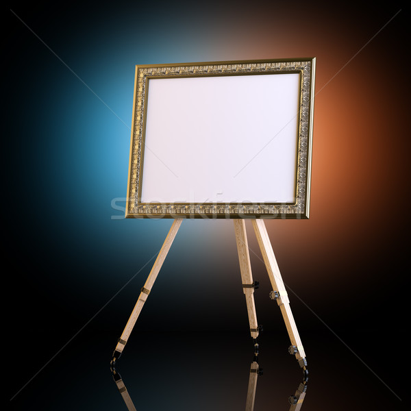 Easel With Carved Picture Frame On Artistic Background Stock photo © vizarch