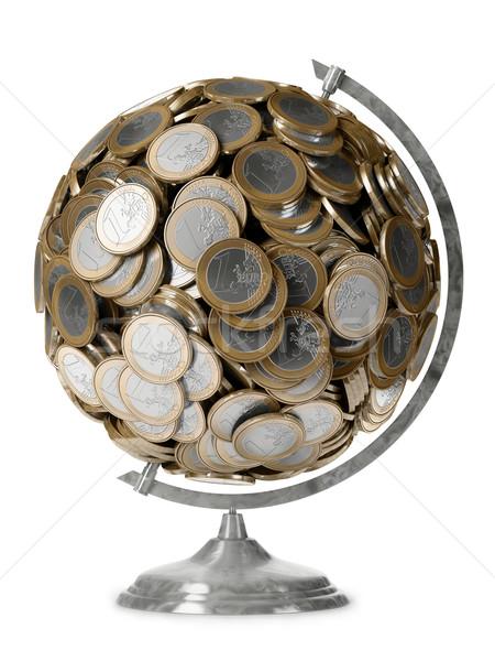 Földgömb Euro érme üzlet pénz absztrakt Stock fotó © vizarch