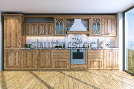 wood kitchen closeup (isolated on white version) Stock photo © vizarch