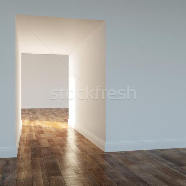 Stanza vuota moderno casa legno muro luce Foto d'archivio © vizarch