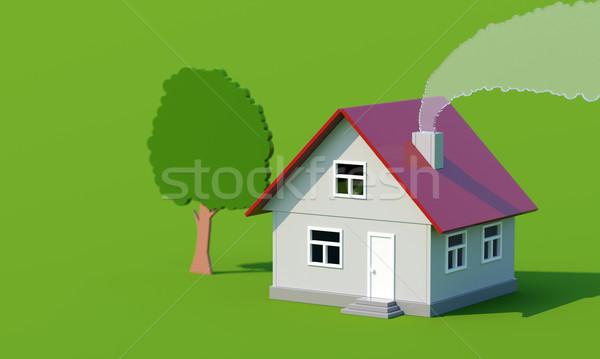 Acrylique jouet maison fumée cheminée résumé Photo stock © vizarch