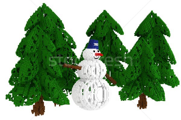 Christmas illustration with a snowman and Christmas trees isolated on white background (pixelated ve Stock photo © vizarch