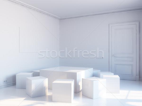 white cubic interior Stock photo © vizarch